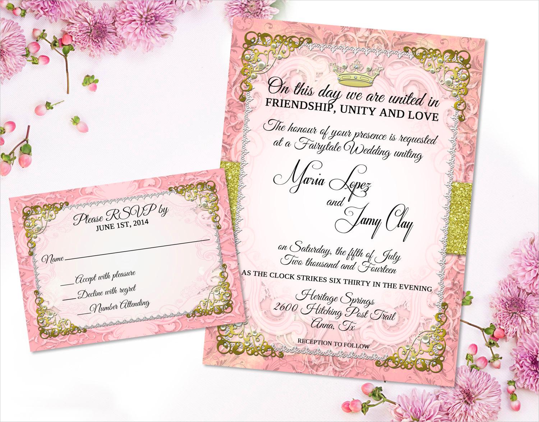 romantic fairytale wedding invitation