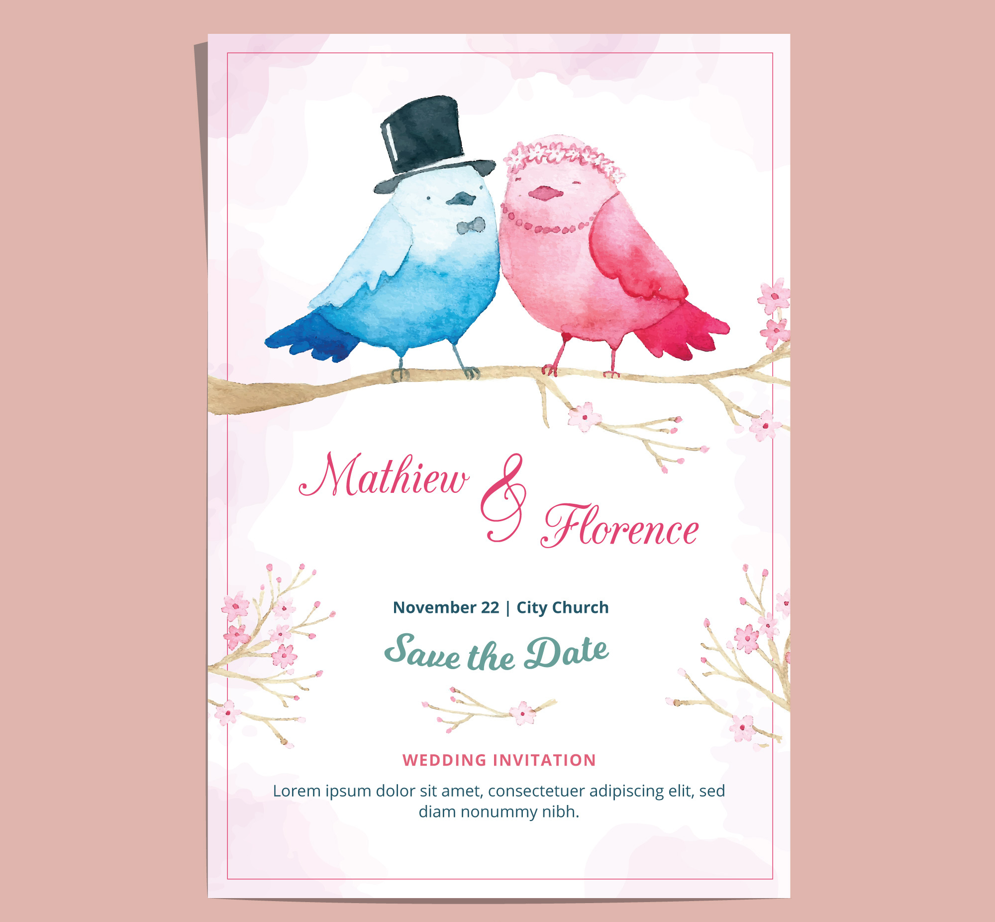 romantic watercolor wedding invitation1