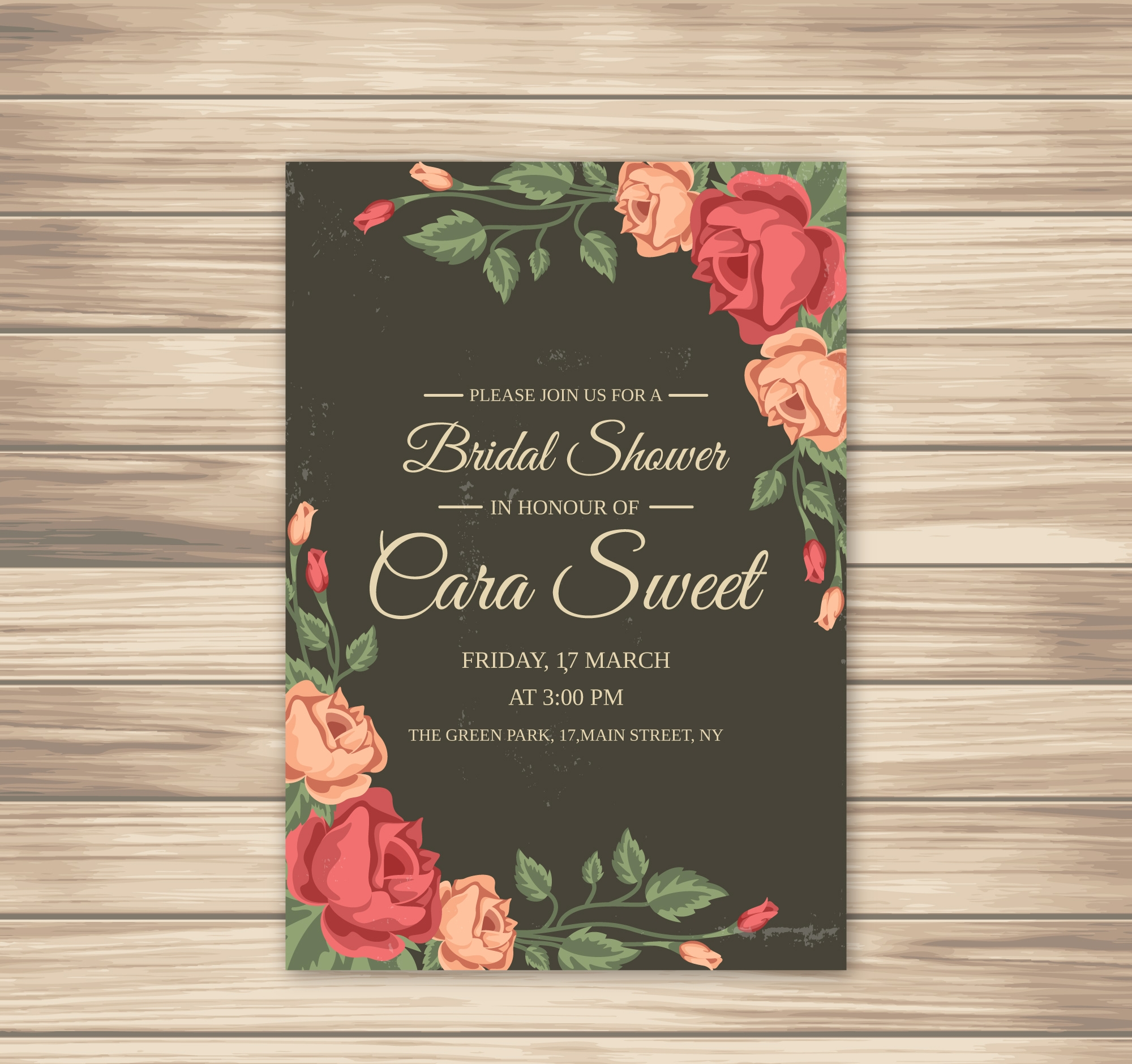 rose bridal shower invitation