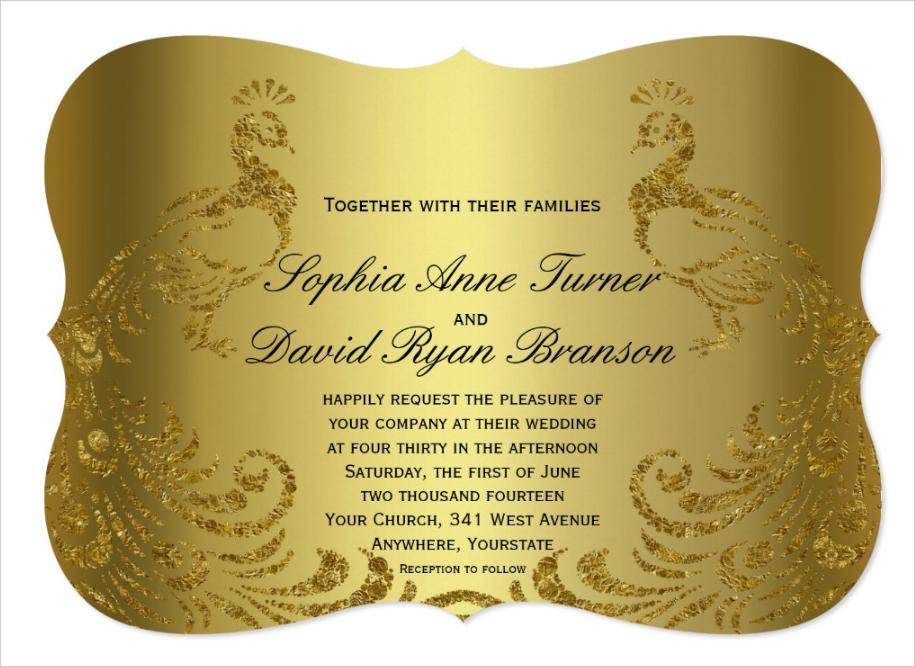 royal gold abstract peacock wedding invitation