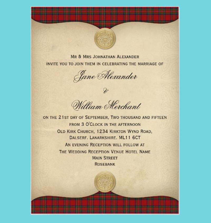 royal stewart tartan plaid wedding invitation