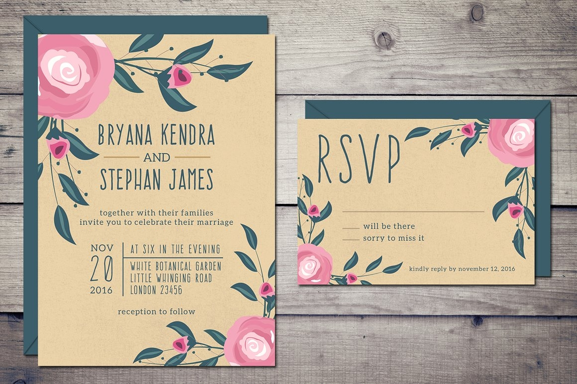 rustic bohemian wedding invitation