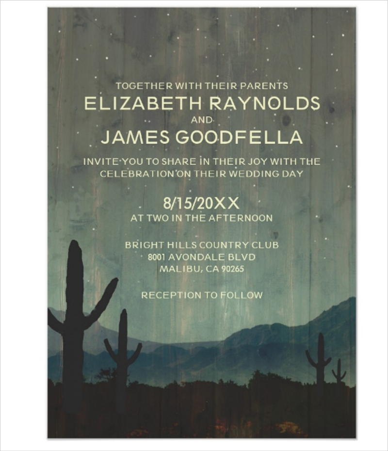 rustic cactus wedding invitation