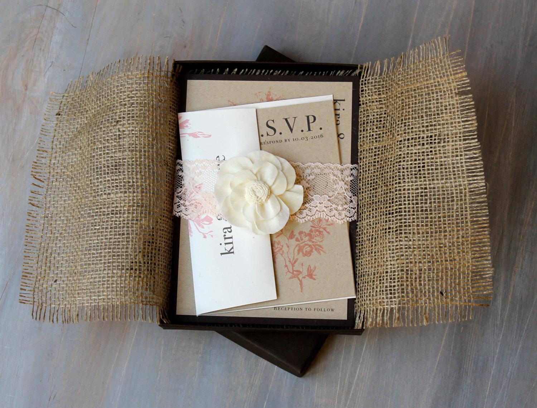 rustic elegance burlap wedding invitation