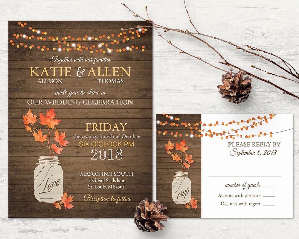 rustic fall wedding invitation1