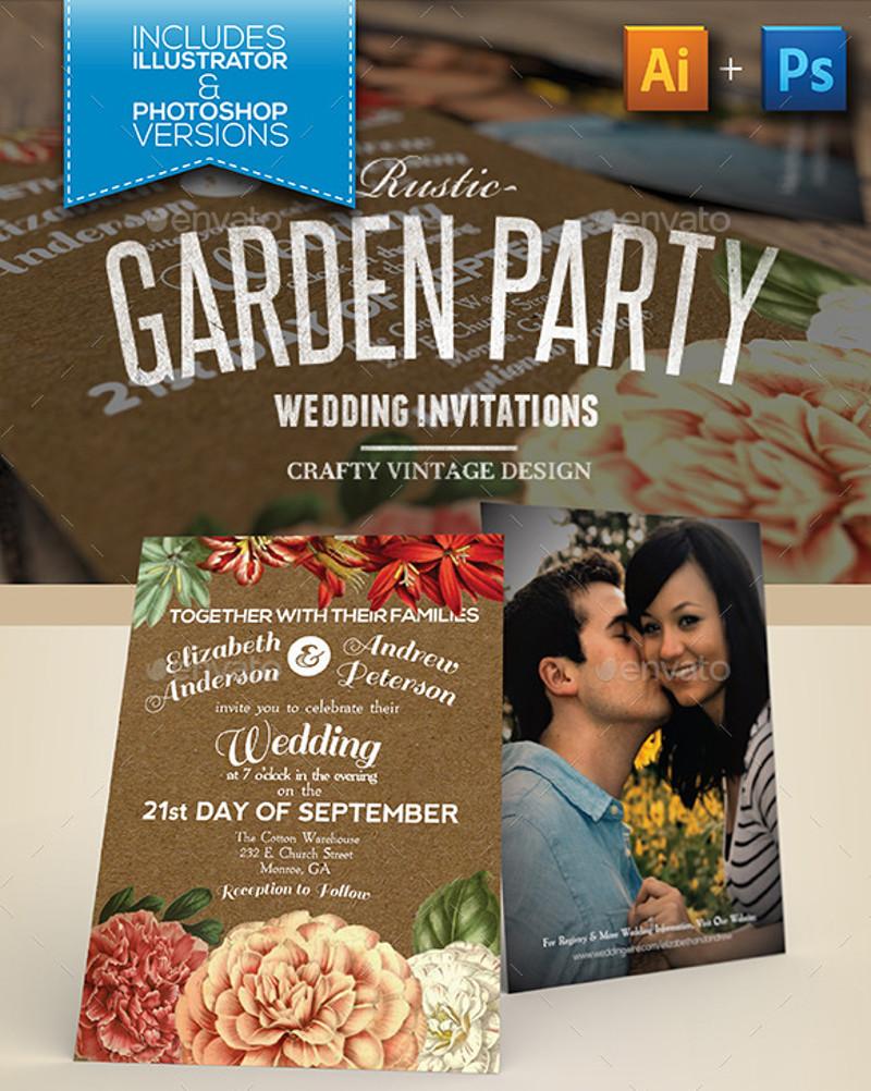 rustic garden wedding party invitation