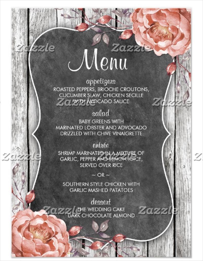 rustic vintage chalkboard menu card