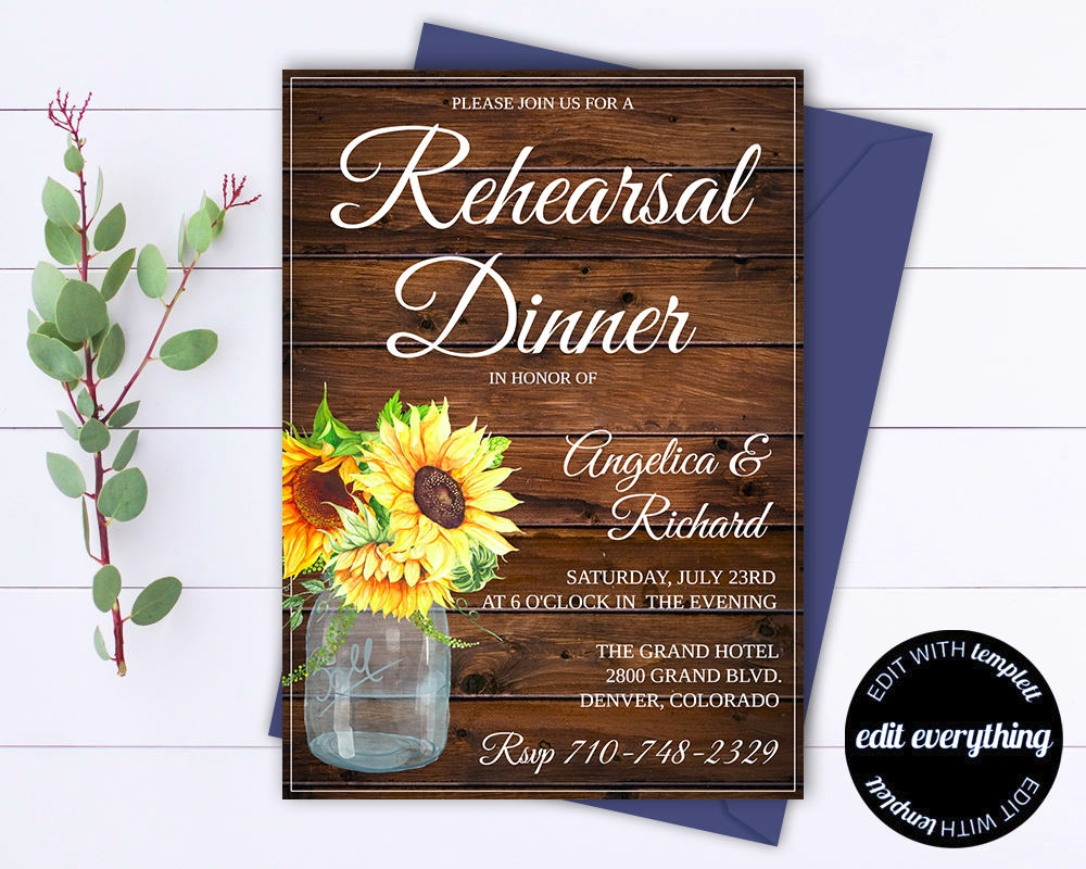 rustic wedding rehearsal invitation