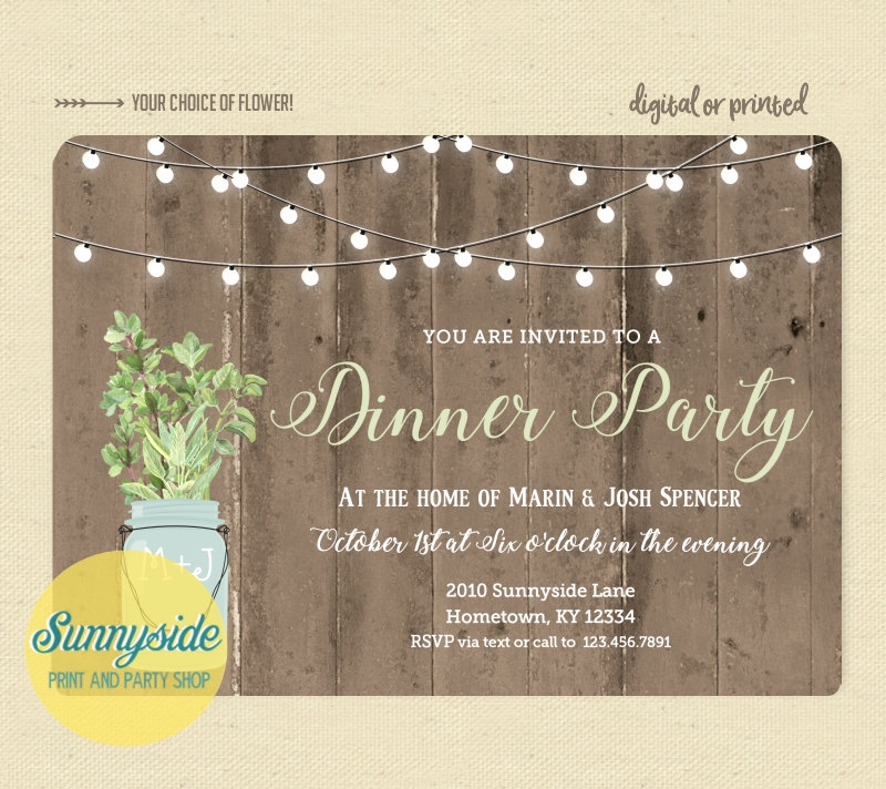rustic dinner party invitation