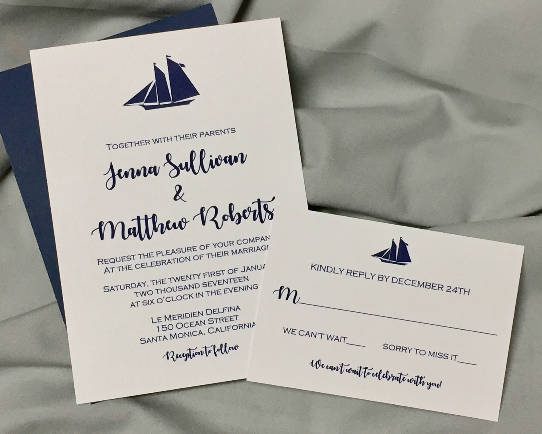 sailboat nautical wedding invitation