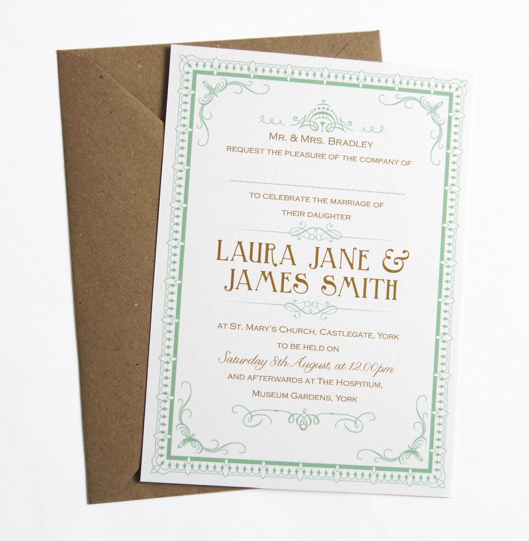 sample art deco vintage wedding invitation