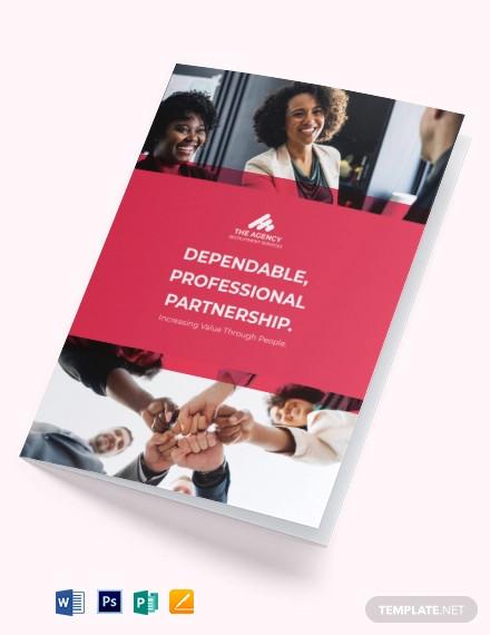 sample recruitment agency bi fold brochure template