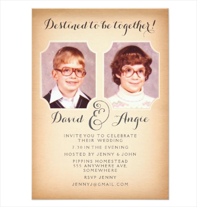 school photos funny wedding photo invitation
