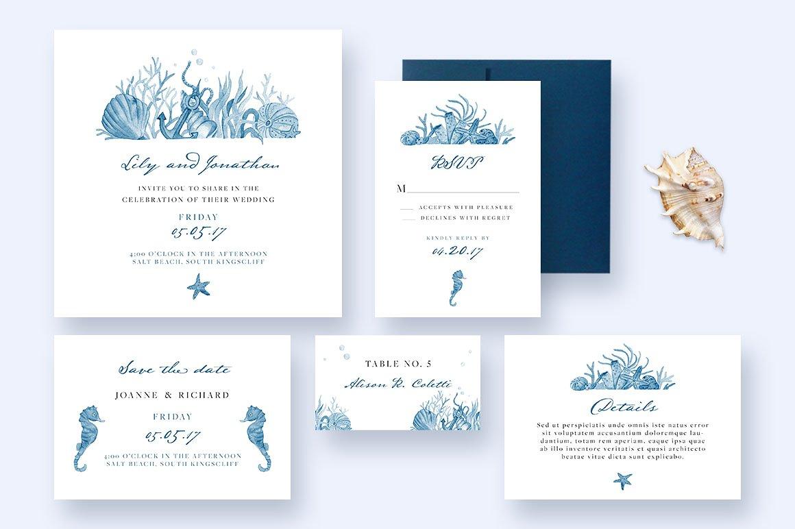 sea nautical wedding invitation