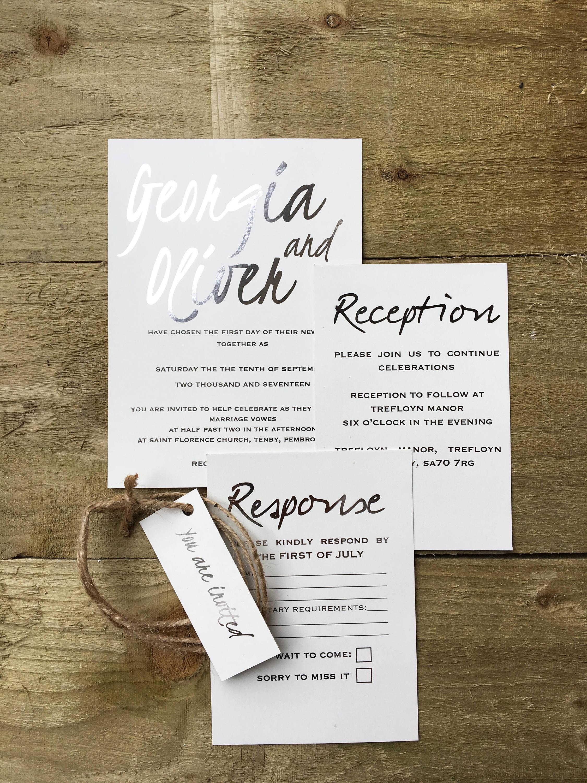 silver foil wedding invitation