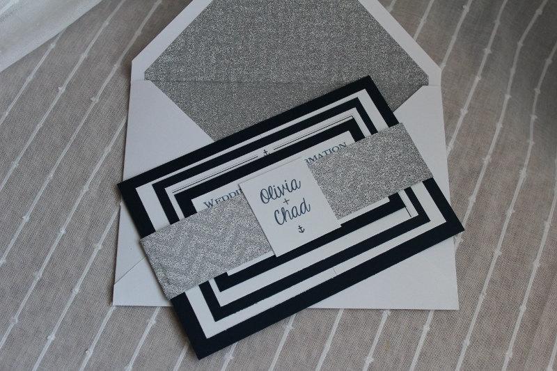 silver nautical wedding invitation