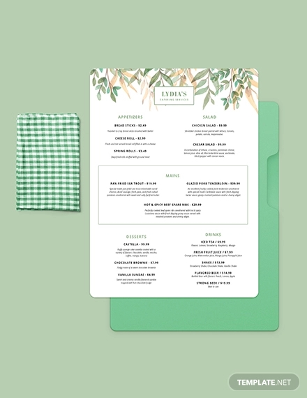 simple catering menu template