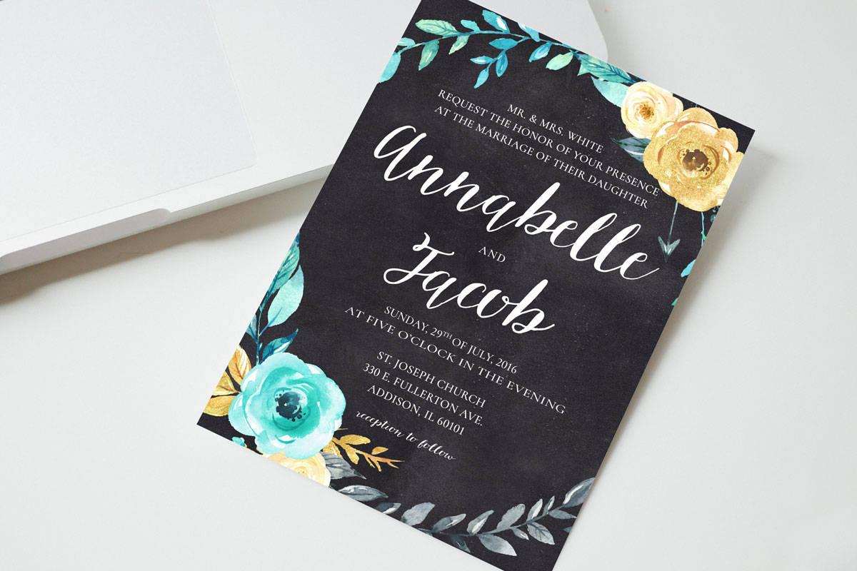 simple chalkboard wedding invitation