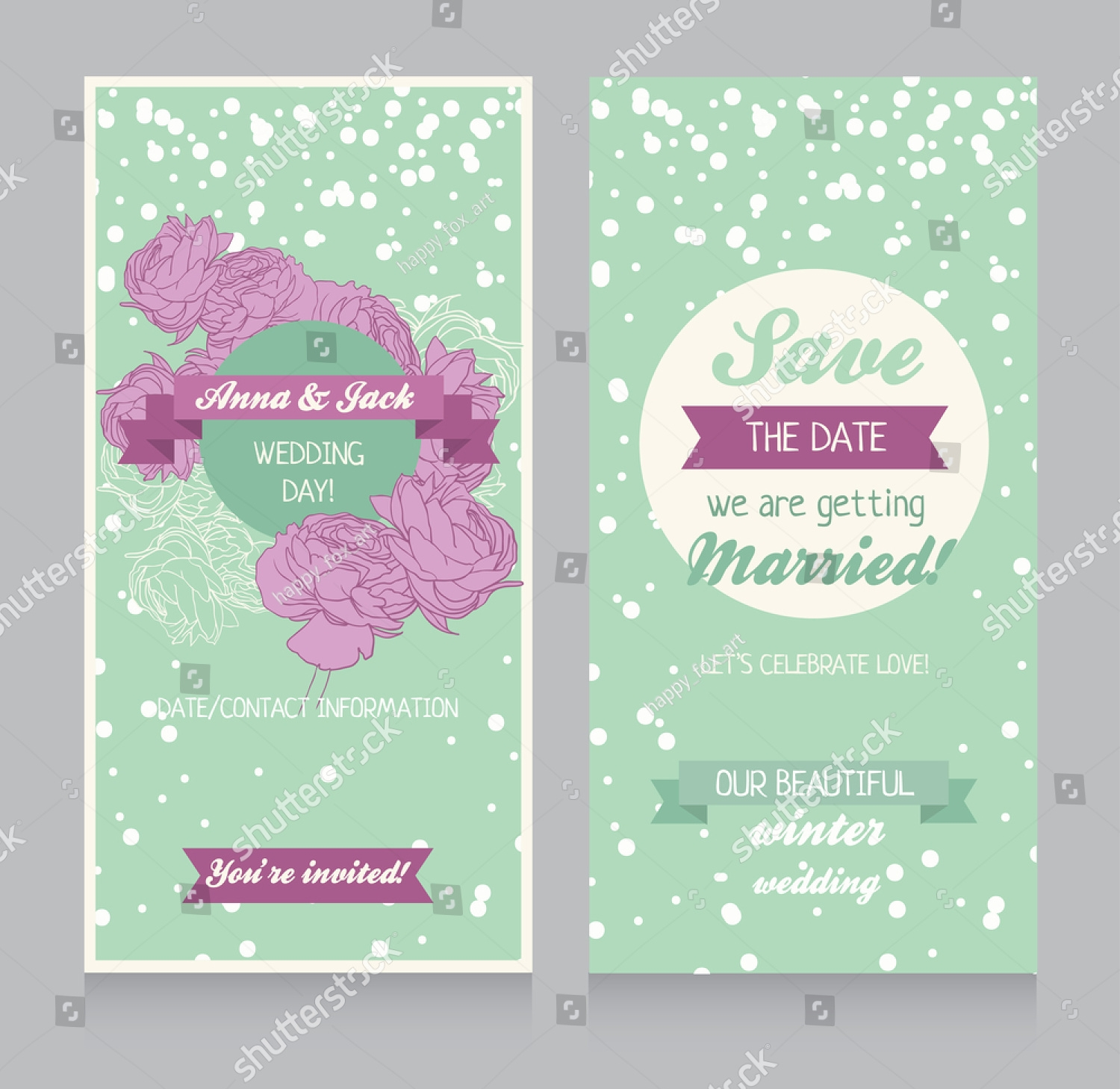 simple winter wedding invitation
