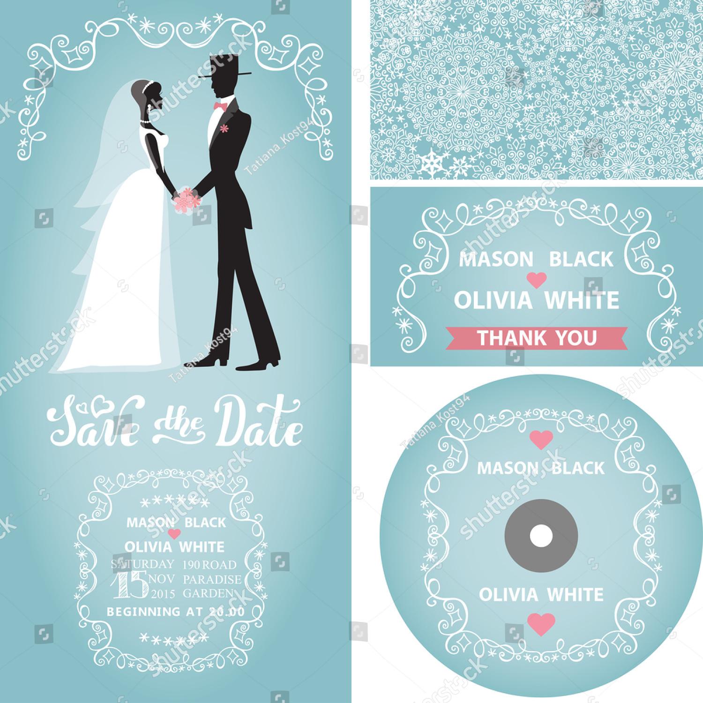 snowflake lace pattern wedding invitation