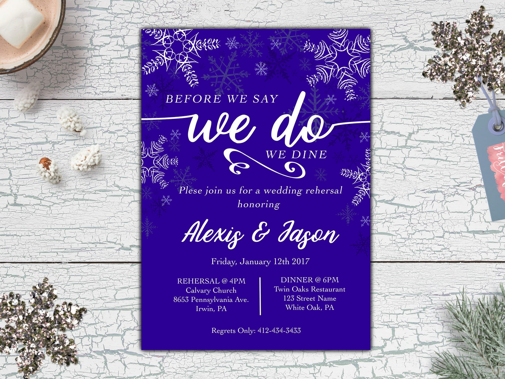 snowflake wedding rehearsal invitation