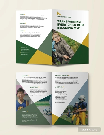 sports camp bi fold brochure template