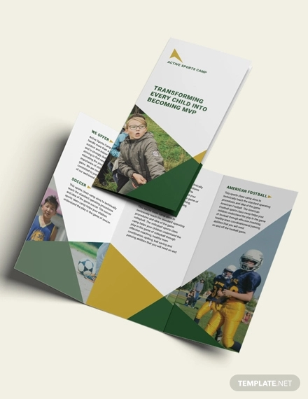 sports camp tri fold brochure template