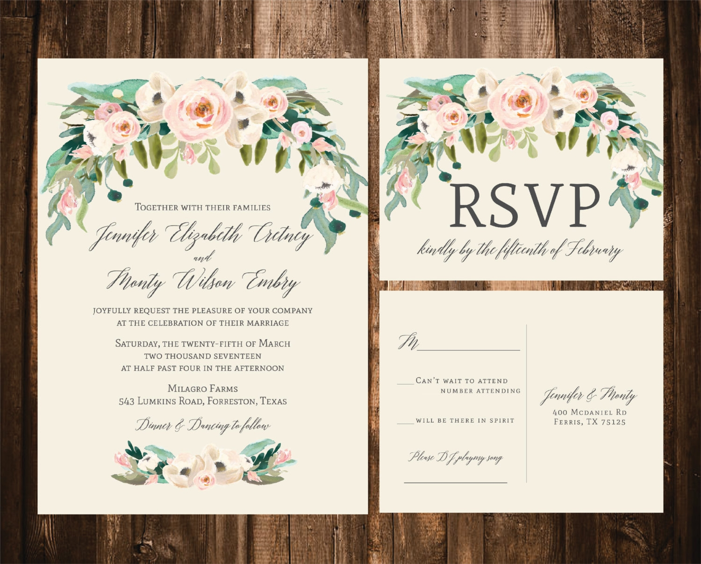 spring bohemian wedding invitation