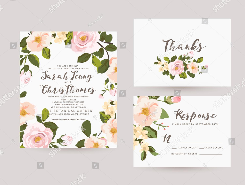 spring romantic wedding invitation