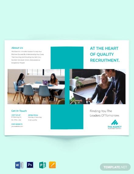 staffing recruitment agency bi fold brochure template