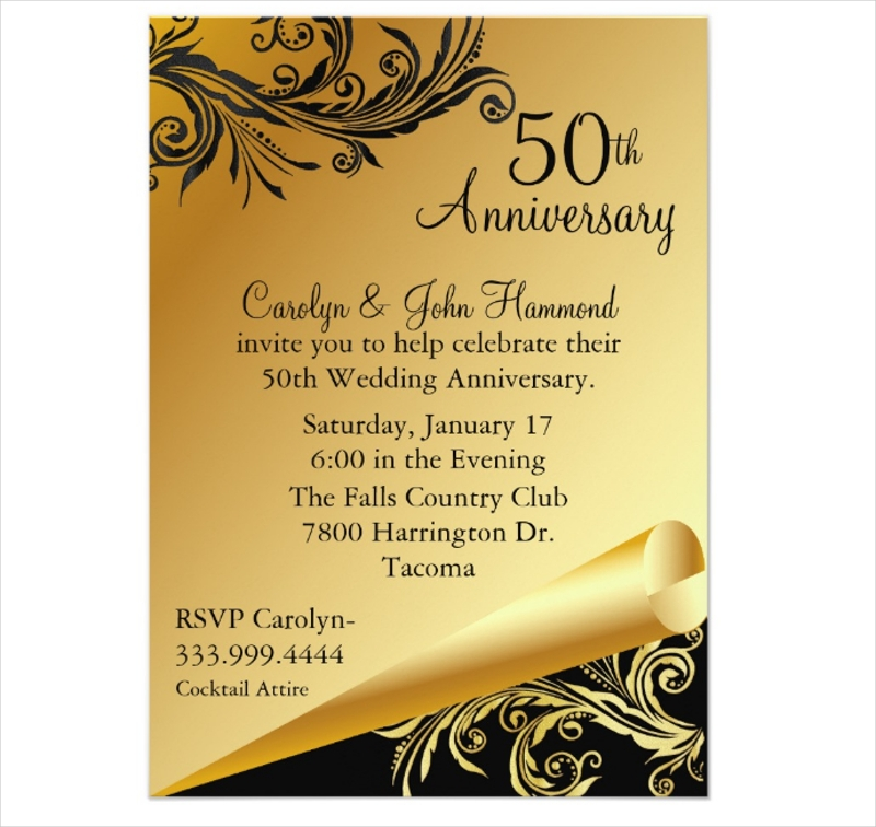 12+ 50th Wedding Anniversary Invitation Designs and Examples - PSD, AI