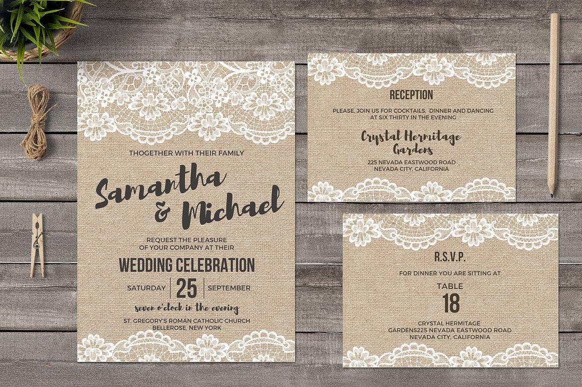 stylish burlap wedding invitation