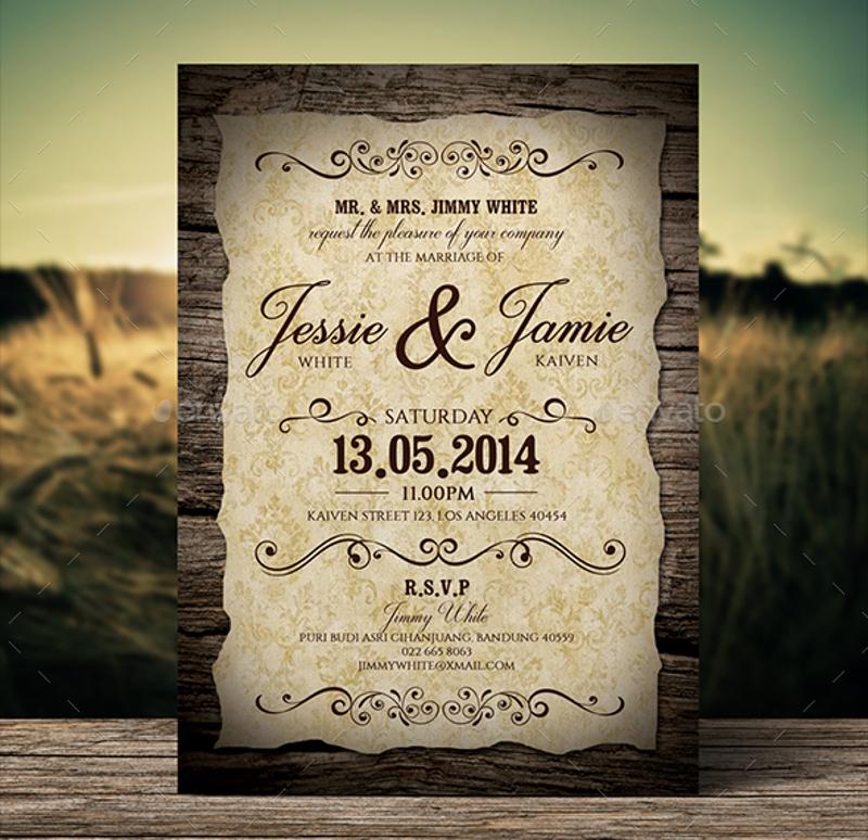 stylish vintage wedding invitation