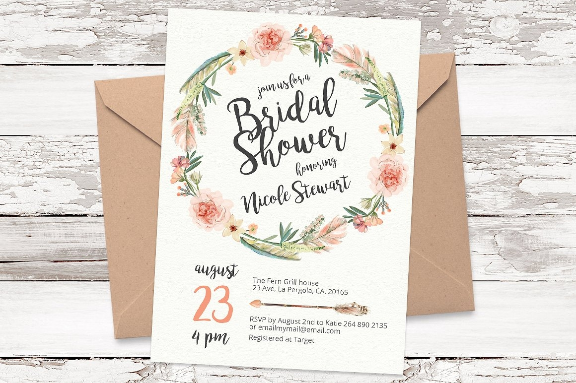 stylish wedding shower invitation
