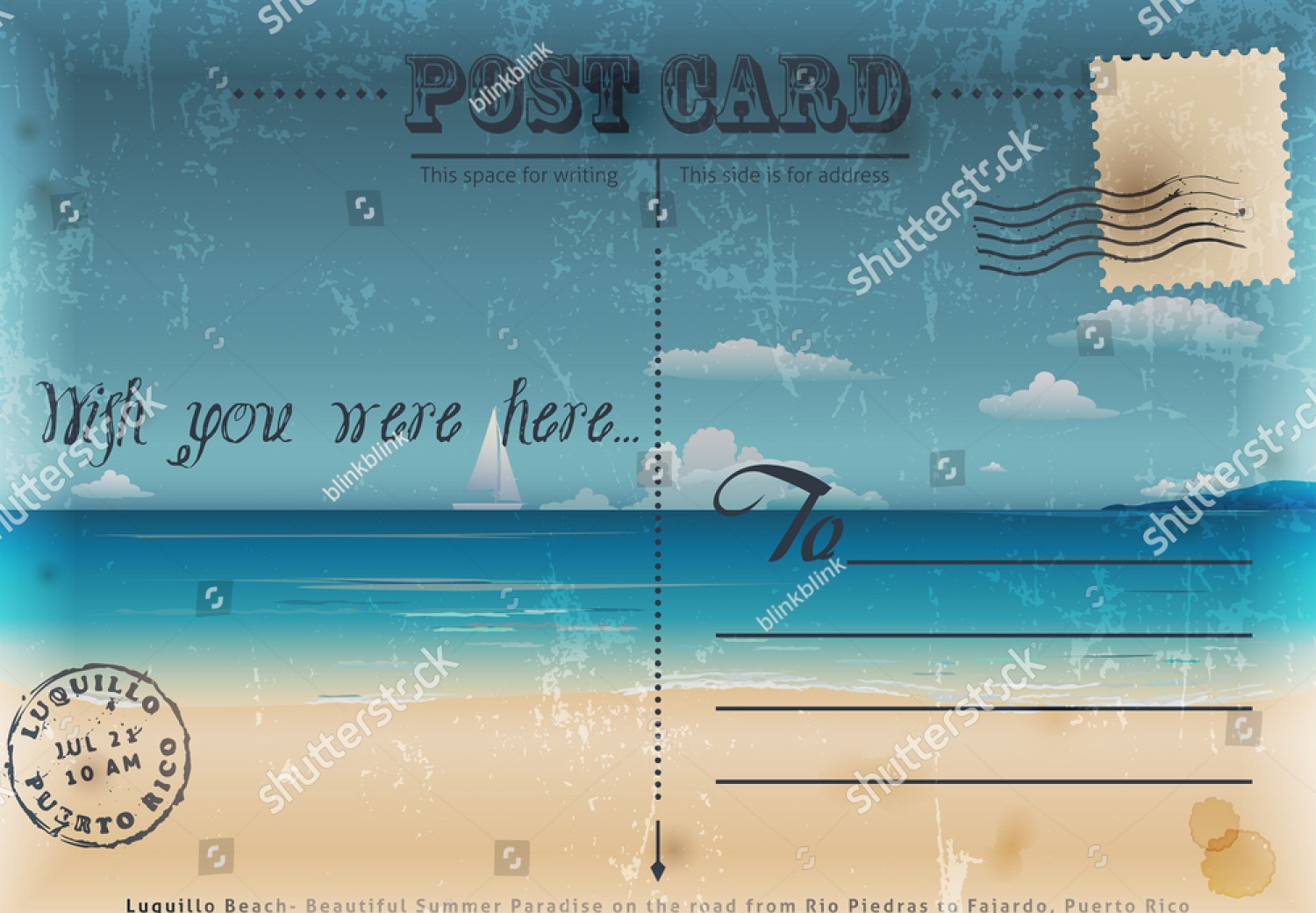 summer travel postcard