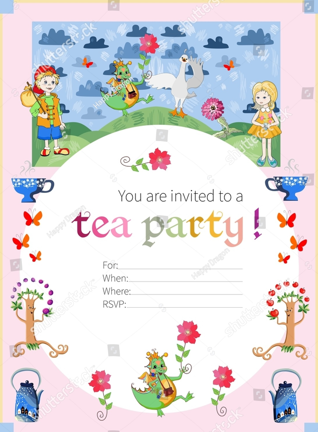 tea party invitation for kids