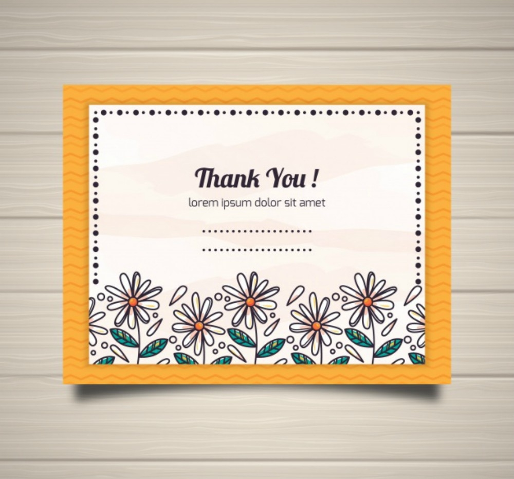 thank you postcard with hand drawn flowers