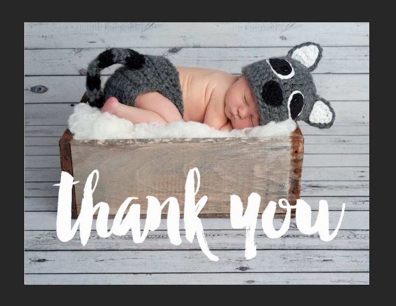 thank you and baby announcement postcard