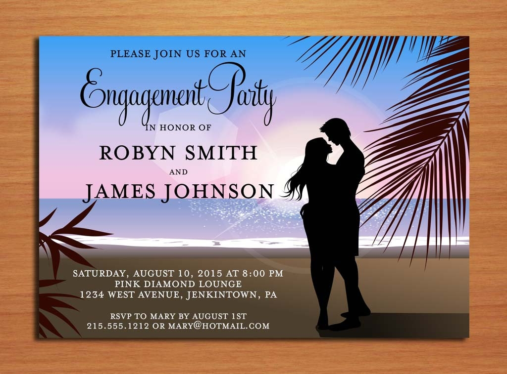 tropical beach engagement invitation design