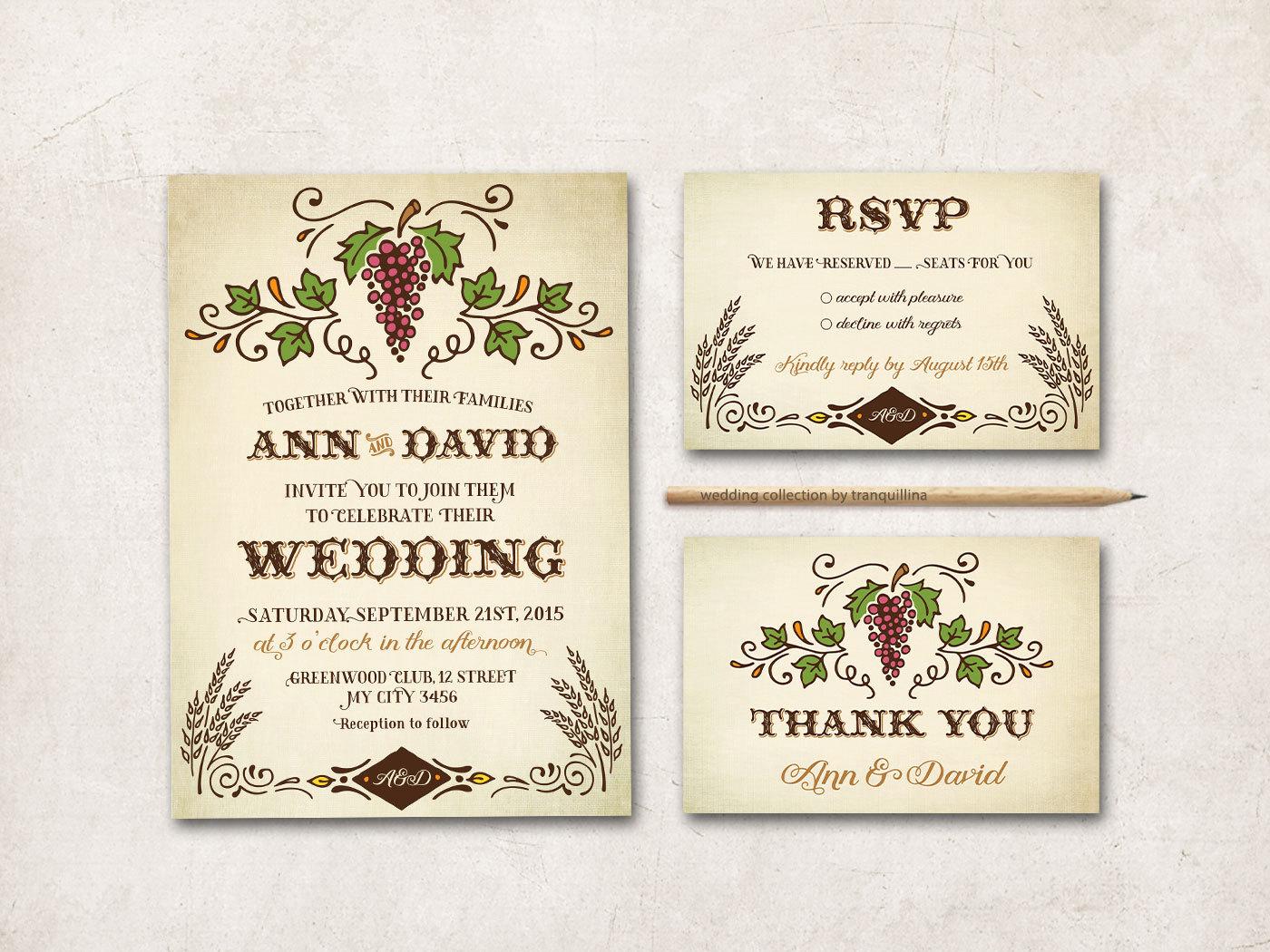 vineyard wedding invitation design