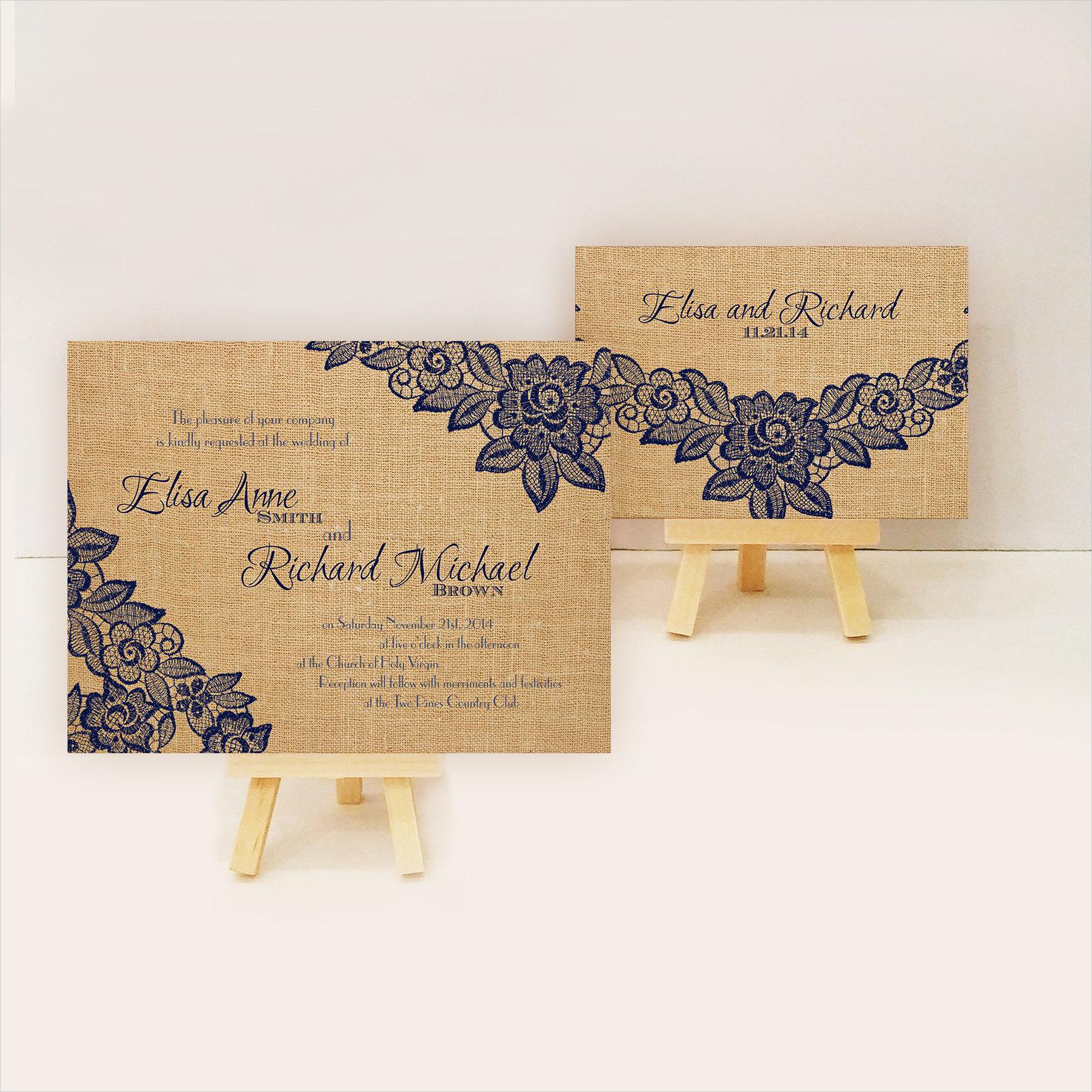 vintage burlap wedding invitation