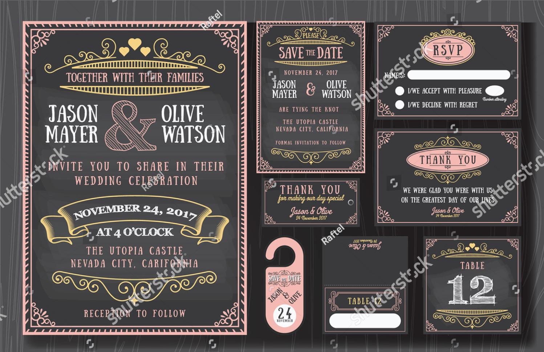 vintage chalkboard wedding invitation design