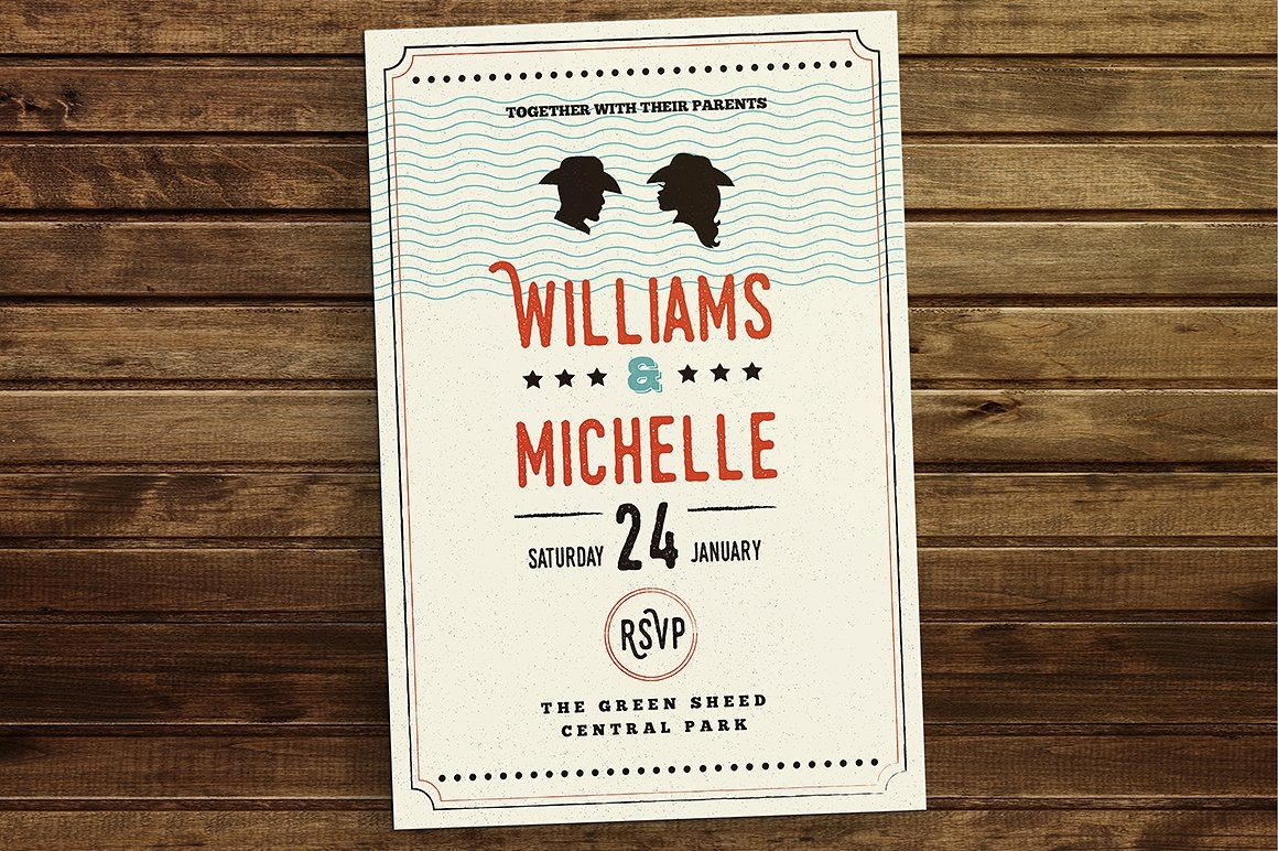 vintage country style wedding invitation