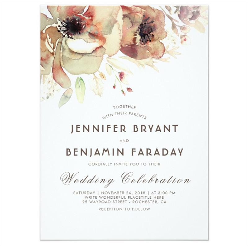 vintage floral watercolor wedding invitation
