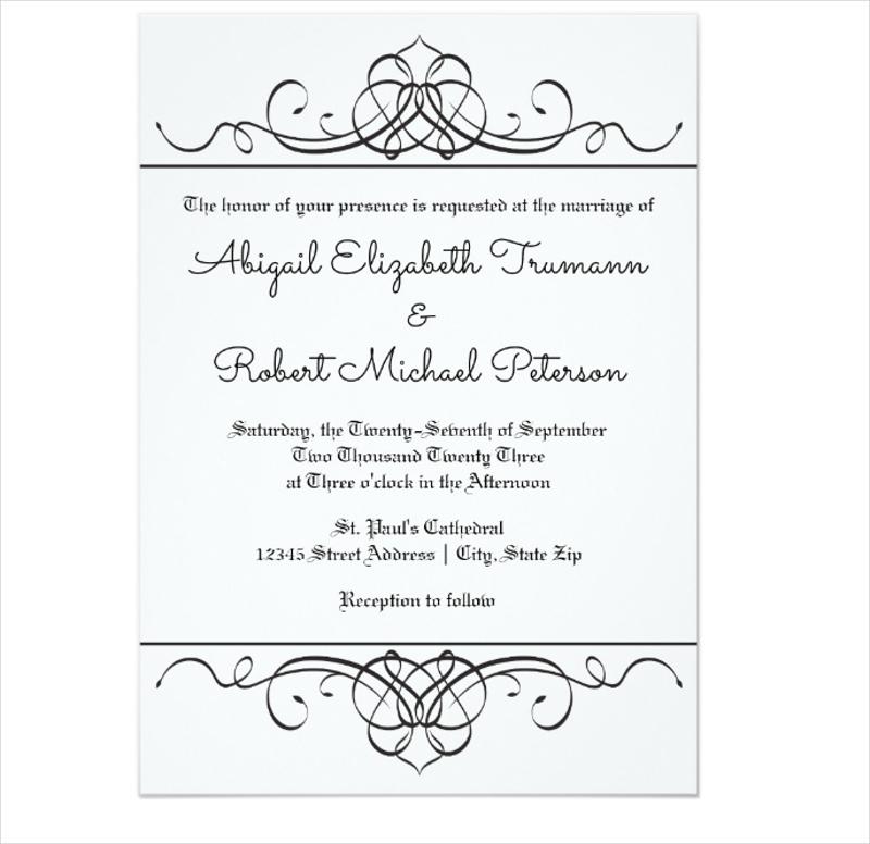 vintage flourish wedding invitation