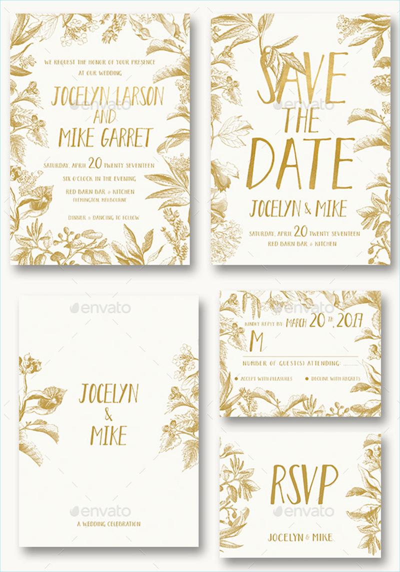 vintage foliage wedding invitation