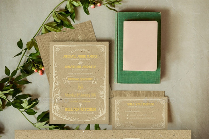 vintage forest wedding invitation