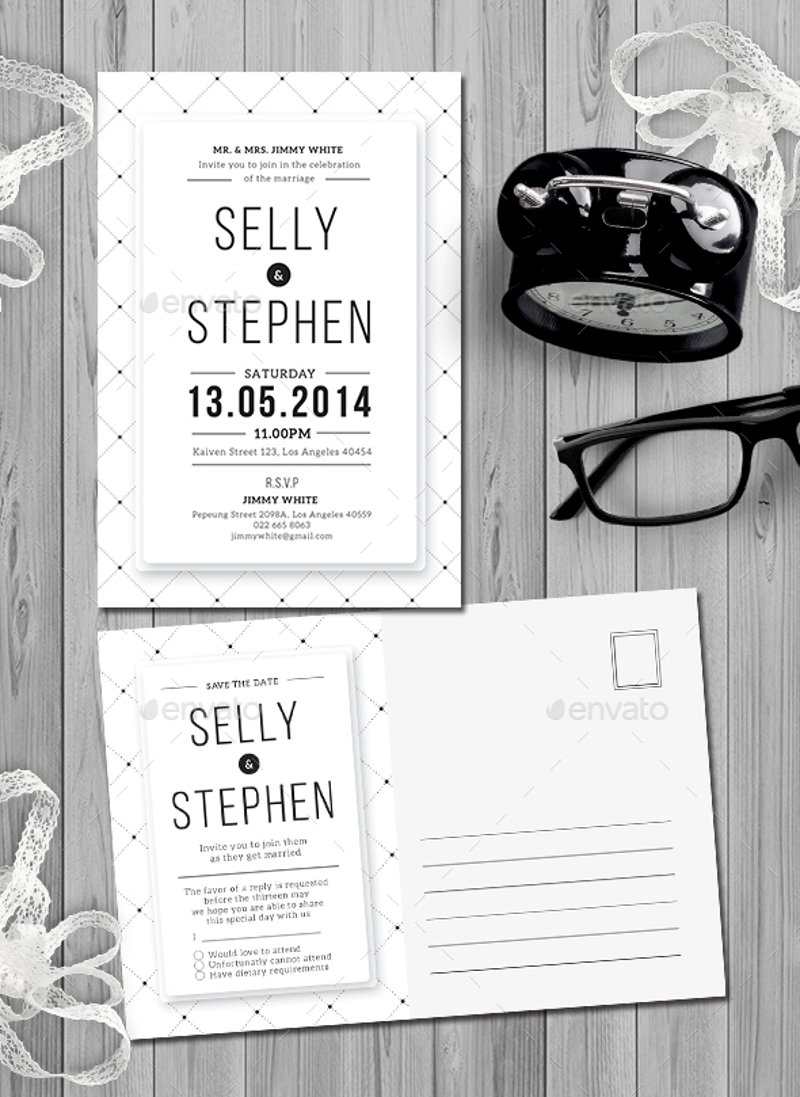 vintage minimalist wedding invitation