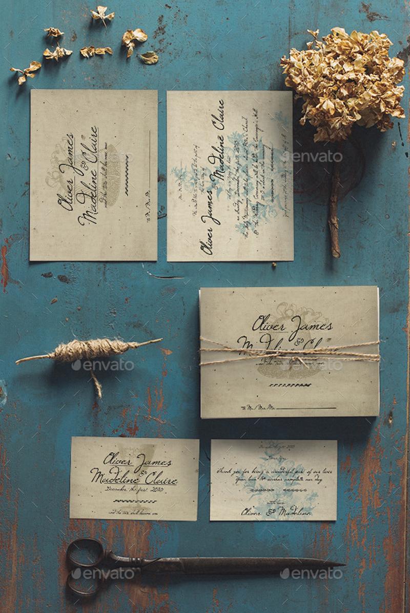 vintage romantic wedding invitation