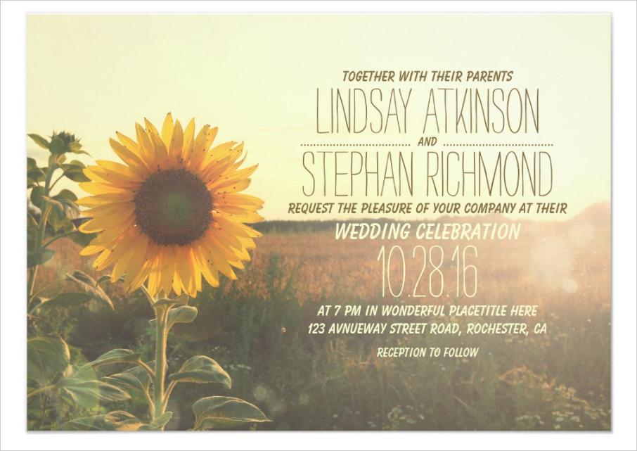 vintage sunflower wedding invitation